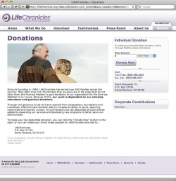Life Chronicles Website - Donation