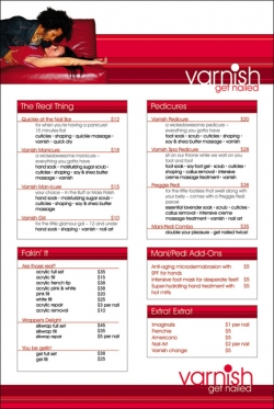 Varnish Wall Menu