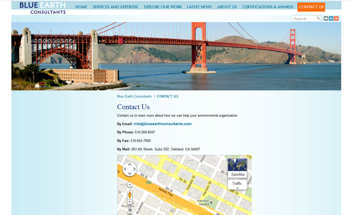 Blue Earth Consultants Website - Contact
