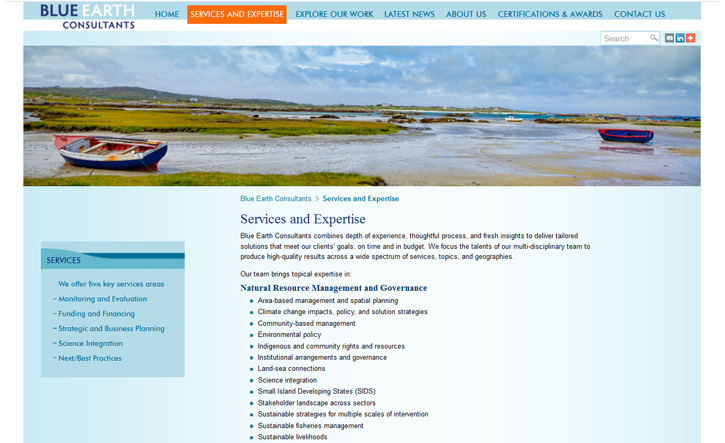 Blue Earth Consultants Website - Services and Expertise
