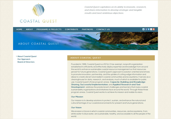Coastal Quest Website - About