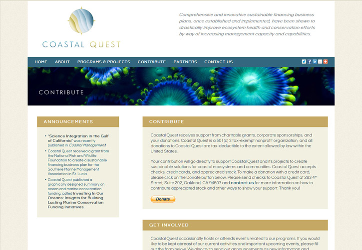 Coastal Quest Website - Contribute