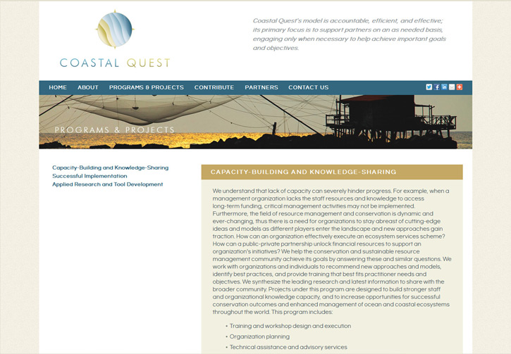 Coastal Quest Website - Programs and Projects