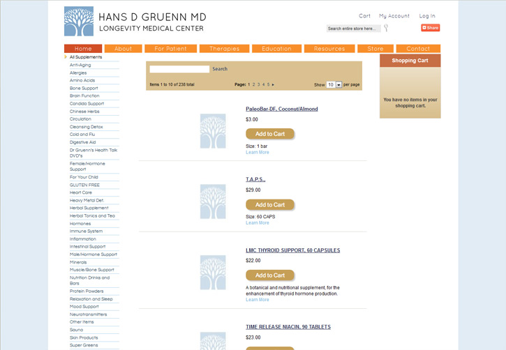 Dr Gruenn Website - Store