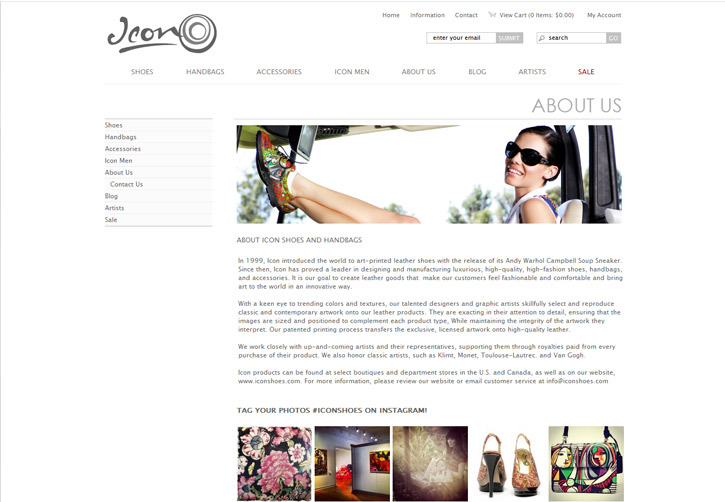 Icon Shoes Website - About
