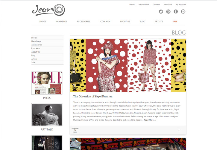 Icon Shoes Website - Blog