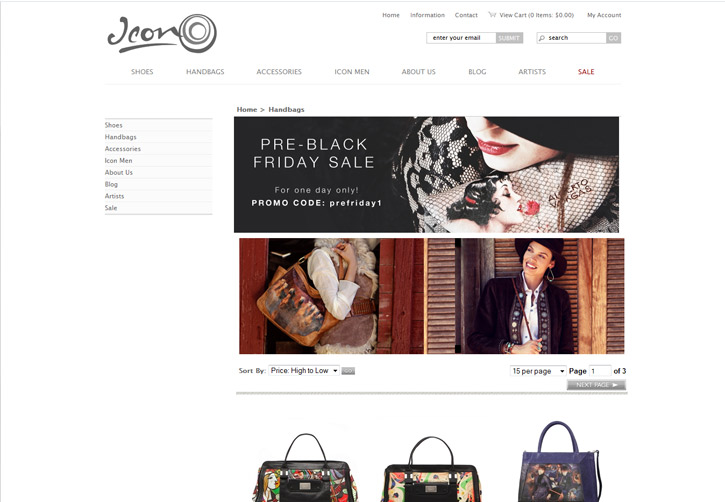 Icon Shoes Website - Handbags
