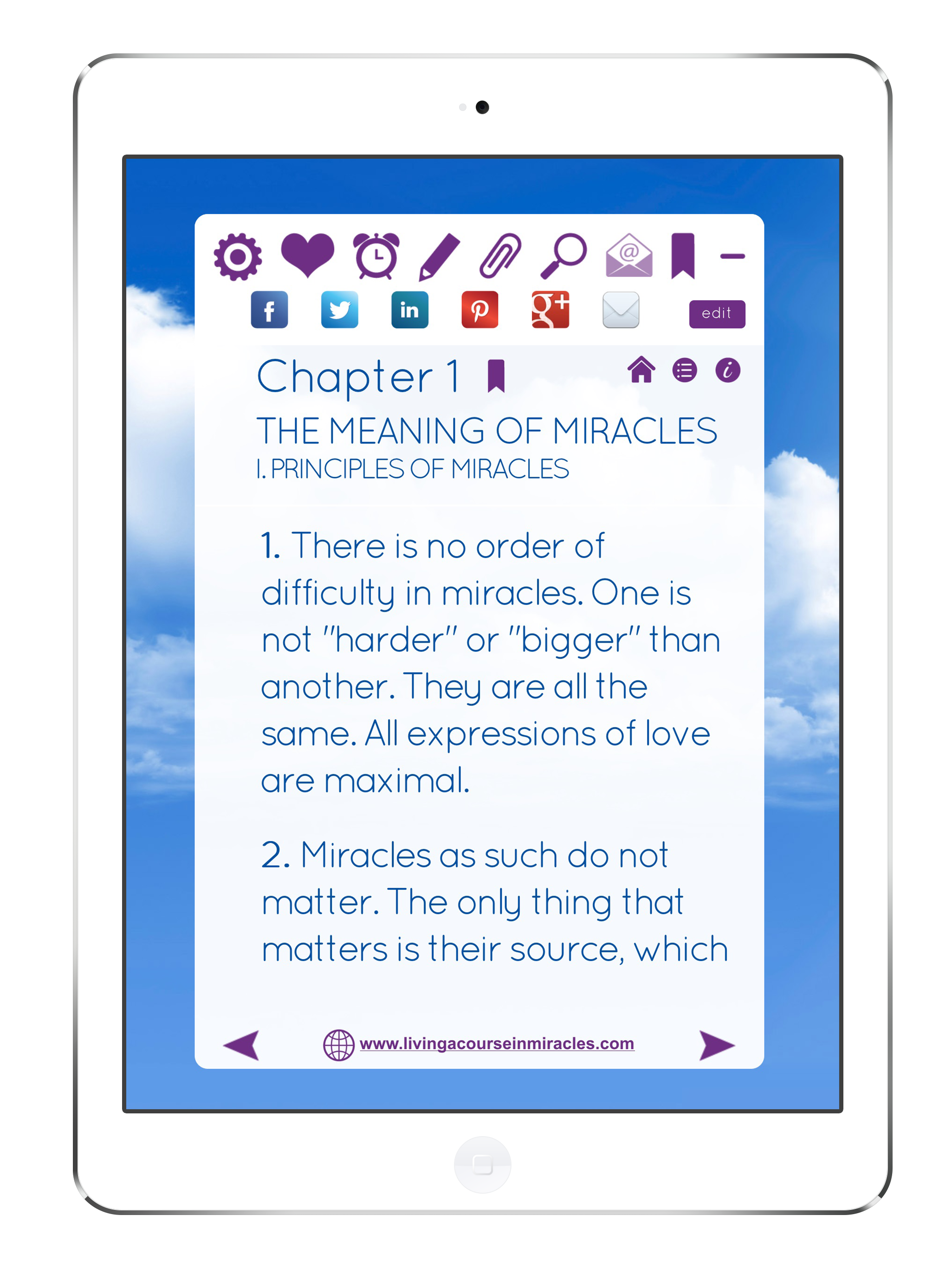 ACIM App Website Share Icons